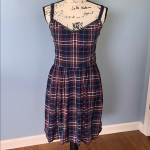 Abercrombie & Fitch plaid dress maroon cream red L